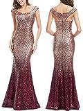 Ever Pretty Lang Pailletten Elegant Partykleid Cocktailkleid V-Halsausschnitt Abendkleid 36 Rot