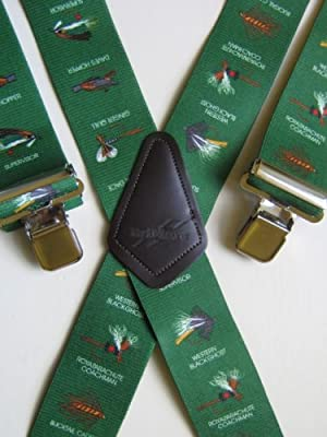 MENS BRACES FLY FISHING GREEN DESIGN from M.K.TOOLS by BRIMARC