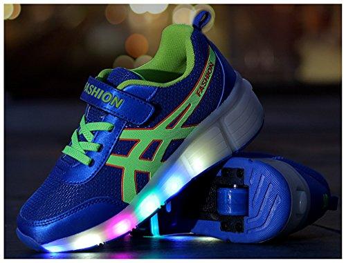 NEWZCERS Unisex adultes enfants patins à roulettes chaussures avec lumière LED simple roue chaussures de course Bleu