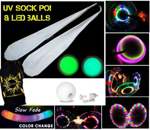 Preisvergleich Produktbild Pro Sock Glow Poi - Socken LED Poi Set! Nachtleuchtender Poi inkl. Batterien. Langsam Fading multicolour Leuchtpoi Luminous Pois Led.