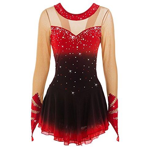 ür Mädchen Frauen Handarbeit Eislaufen Wettbewerb Leistung Kostüm Qualitäts Kristalle Langärmelig Rollschuhkleid Rot Schwarz ()