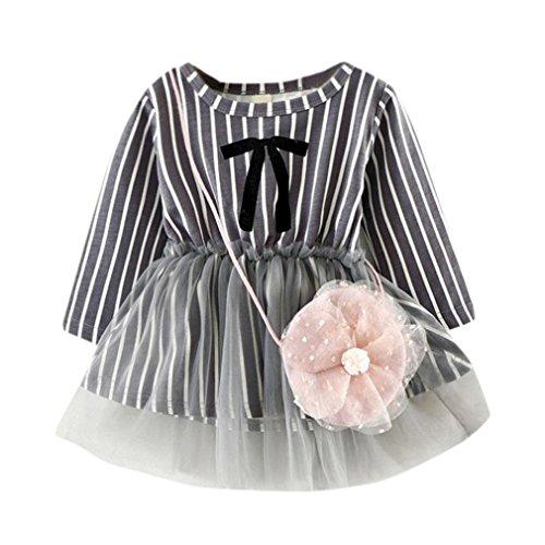 ZIYOU Baby Mädchen Prinzessin Dress Nettes Gestreift Kleider + Kleine Tasche (12M, (1950 Niedlich Kostüme)