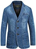 WS668 Herren Slim-Fit Denim Mantel Baumwolle Casual Classic Fashion Business Anzug Jacken Retro Overcoat Mens Coats (EU/DE X-Large (Asia Tag 3XL), 2182-Blau)