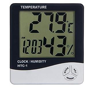 Aulola ® 3-in - 1 LCD-Thermometer mit Temperatur- und Humiditätsanzeige, Digital/elektronisch Wecker