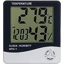Aulola, termometro digitale con schermo LCD, termometro igrometro elettronico, con allarme, per casa, auto o ufficio