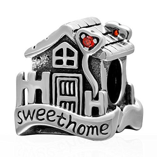 Ciondolo sweet home in argento sterling 925 per casa e famiglia, compatibile con ciondoli pandora-ciondolo brillante.