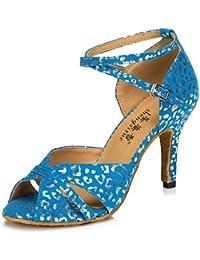 T.T-Q Damen Tanzschuhe Leder Modern Sneakers Chunky Heel Blau Latin Sandalen Salsa Jazz Tango Swing Praxis Innen...