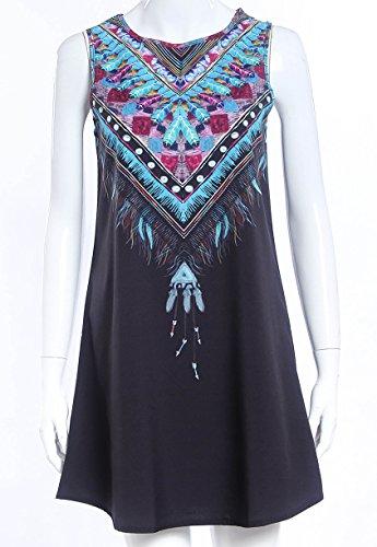 Damen Elegante Rundhals Reizvolle Rock Jugend Kleid A-Linie Vintage Petticoat Sommerkleider Kimono Ethno-Style Sandstrand Freizeitkleider Frühling Sommer Schwarz
