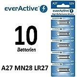 everActive Pila alcalina, 10 unidades, A27,12V, para mando a distancia, 27 A, LR27A MN27 L828