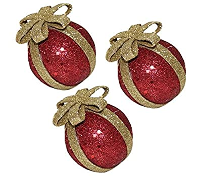 Christmas Tree Decoration Baubles 55mm Glittering Red Gold Different