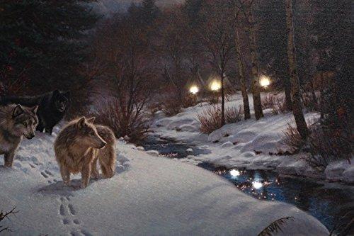 kunstdruck leinwand mit led beleuchtung winter w lfe im schnee 40 x 60 cm western wolf bild. Black Bedroom Furniture Sets. Home Design Ideas