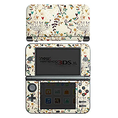 Nintendo New 3DS XL Case Skin Sticker aus Vinyl-Folie Aufkleber Flower Retro Vögel