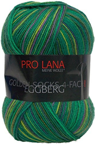 Pro Lana Golden Socks Eggberg 4-fädig 100 g Sockenwolle - NEU - zum Häkeln und Stricken 319 dunkelgrün-hellgrün (Golden Häkeln)