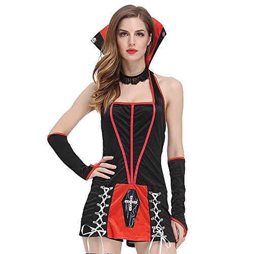 Frauen Für Plus Kostüme Größe Vampir (FLH Vampire Uniformen Halloween Versuchung Set Cosplay Kostüme Spiel Uniformen Erogenous ( Farbe : Schwarz , größe : M)