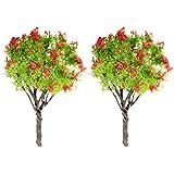 2x Vert Feuillage Fleur Rouge Arbre Artificielles Pots miniatures Fairy Garden Ornament Decor