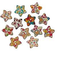 SODIAL 100 Paquete Sujetador Botones de Resina Botones de Impresion para ninos Botones de Costura Regalo de Navidad Album de Recortes Tejido Diseno de Mariquita