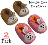 Foxy Fane Cute Non Slip Soft Sole Baby Bootie Slip On Shoes [0-9 Months - 2 Pack]