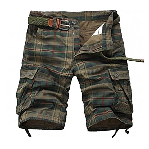 Men's Cotton Active Outdoor 1/2 Plaid Slacks Summer Casual Cargo Shorts DK18 Green 34