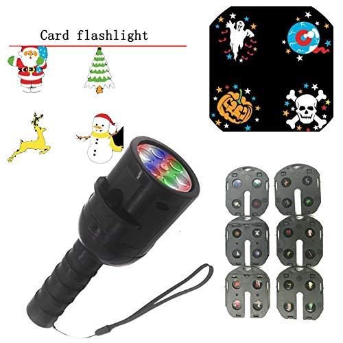 Rziioo Projektor-Licht, LED-Weihnachtsprojektor-Lichter, Handheld-Projektor-Taschenlampe, 2-In-1-Deko-Licht