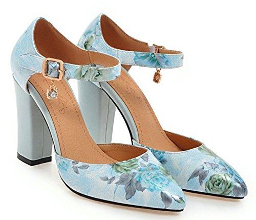 avec Multicolore Aisun Bleu Mode Escarpins Femme Boucle Fleurs tzqSXvxq
