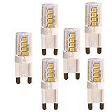 OUGEER 5er Pack G9 LED Lampe, Kein Flackern, (3W, Ersetzt 30W Halogen), 300LM, Warmweiß 3000K, G9 LED Leuchtmittel Birne