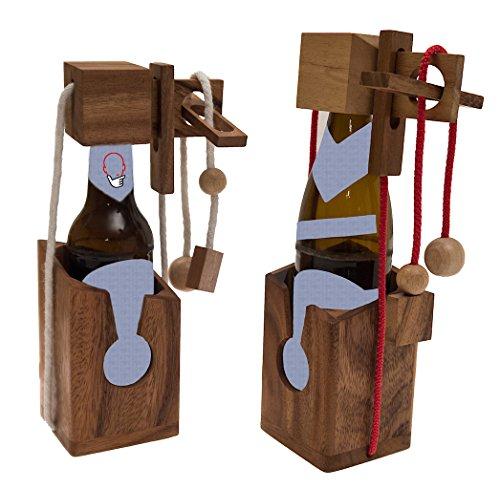 ROMBOL Flaschentresor - Edler Tresor aus Holz für Bierflaschen 0,33 l (weißes Band) für 0,33 l und 0,5 l Bierflaschen (rotes Band), Bandfarbe:Weiss (Gefangen Video-spiel Einem In)