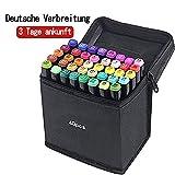 Gucheng 80 Farbige Stift Fettige Mark Farben Marker Set,Twin Tip Textmarker Graffiti Pens für Sketch Marker Stifte Set für Studenten Manga Kunstler Design Schule Drawing Sketch (Schwarz, 40)