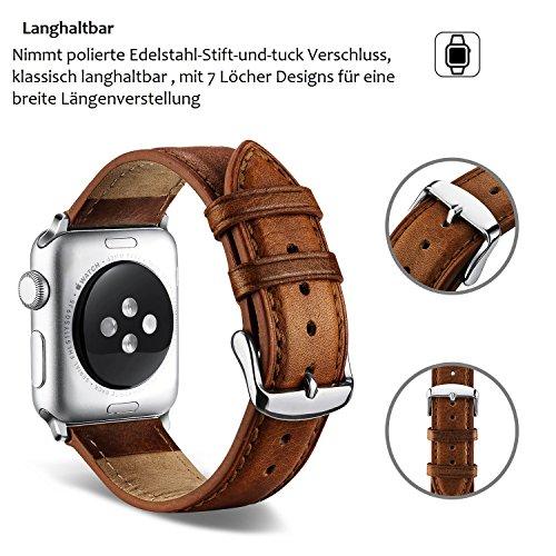 51Ozk1G2sCL - [Amazon.de] Benuo Echtes Leder Armband für alle Apple Watches mit 42mm nur 10,79€ statt 17,99€