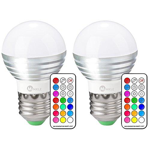 LED RGB Lampe, Minkle 3W A19 E27 Base Dimmbare Birne mit Fernbedienung, Kaltweißem Licht, RGB + Weiß, 2er Pack [Energieklasse A++] (Ändern Sie Wand Licht Schalter)