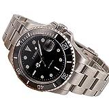 40mm de cristal de zafiro negro esfera luminosa banda de acero inoxidable de los hombres automático reloj de pulsera