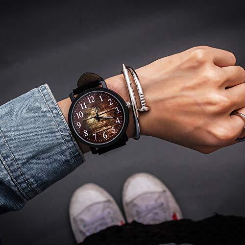 WLFPEG Mode Armbanduhr Frauen Uhren Retro Sternenhimmel Uhr großes zifferblatt pu Damen Quarz Armbanduhr