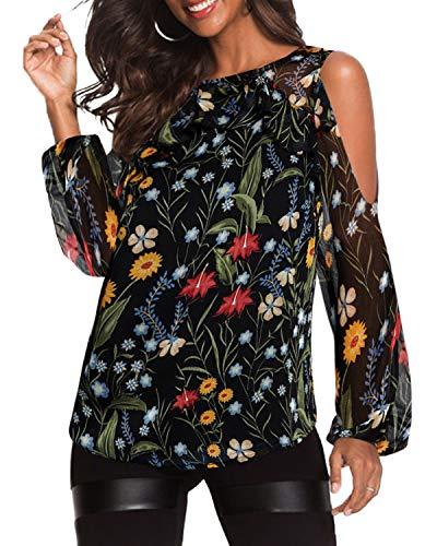 Yoins donna camicetta maniche lunghe maglia spalle scoperte maglie girocollo camicia tunica stampata casuale floreale-02 xs