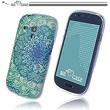 WeLoveCase Casco para Samsung Galaxy S3 Mini Silicona TPU Suave Funda Cascara Protección Tapa Anti Polvo Absorción de Choque Gel Ligera Resistente Fina con Diseño Creativo Original de Moda Nuevamente (Samsung S3 Mini, Dibujo Flor Azul Blanco)