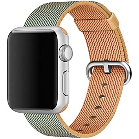 Cuitan Correa para 38mm Apple Watch, Trenzado de Nylon Correa de Reloj con Acero Inoxidable Adaptador Reemplazo Banda de Muñeca Watchband Wristband Watch Band Strap para 38mm Apple Watch/Sport/Edition - Oro y Azul