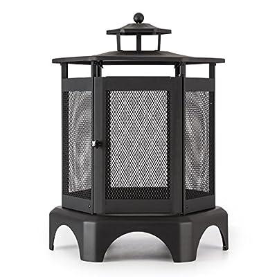 Blumfeldt Mandala Garden Fireplace Thermal Paint Incl Poker Large Area For The Fire Lockable Door Removable Ash Tray Black from Blumfeldt