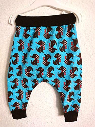 Pumphose Hunde blau, braun, unisex Gr. 80/86 (12 Knochen)