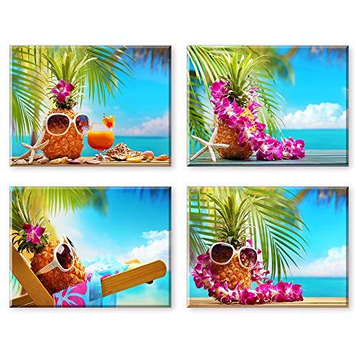 Piy Painting Wandbilder süße Ananas mit Sonnenbrille am Strand Kunstdruck auf Leinwand Günstig inkl Rahmung, Fotoleinwand und Kunstdrucke auf Wanddeko für Wohnzimmer Küche Weihnachten 30x40cm 4 Set