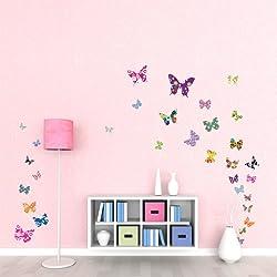 Decowall DW-1201 38 Mariposas Coloridas Vinilo Pegatinas Decorativas Adhesiva Pared Dormitorio Salón Guardería Habitación Infantiles Niños Bebés