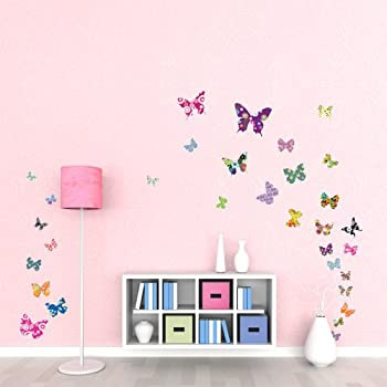Decowall DW 1201 38 Colourful Butterflies Kids Wall Stickers Wall Decals  Peel And Stick Removable Part 60