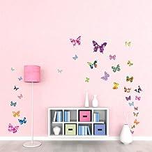 Decowall DW-1201 38 Farfalle Colorate Adesivi da Parete Decorazioni Parete Stickers Murali - Piccolo Farfalla Della Decorazione Della Parete