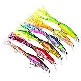Fyx 6pcs Leurres de Pêche Calmar 14cm/40g Poissons-Appâts Mouche de pêche avec Deux Triple Crochet