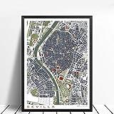 HDWALLART 16 Ciudad Famosa Mapa clásico Póster e impresión Arte de la Pared Lienzo Pintura París Copenhague Madrid Mapa de la Sala de Estar Decoración para el hogar Sevilla Grabado 30x40cm Sin Marco