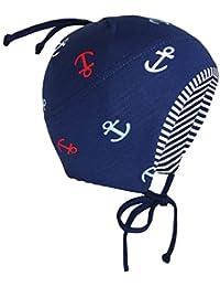 EveryHead Fiebig Bonnet De Bébé Garçon Cravate À Lanières Cap Jersey La  Marque Avec Ancre Pour 948b8af3879