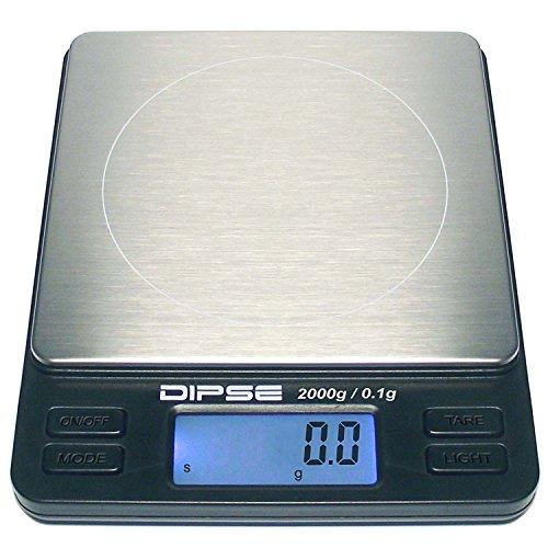 Digitalwaage TP-2000 Feinwaage die in 0,1 g Schritten präzise bis 2000g / 2kg wiegt, Taschenwaage, Feinwaage, Goldwaage mit extra-großer Wiegefläche
