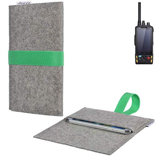 flat.design Handyhülle Aveiro mit Filz-Deckel und Gummiband-Verschluss für Ruggear RG760 - Sleeve Case Etui Filz Made in Germany hellgrau grün - passgenaue Smartphone Tasche für Ruggear RG760