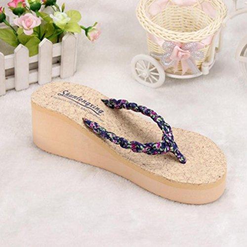 OVERMAL Summer Bohemia Doux Floral Tongs Sandales Clip Toe Sandals Chaussures de Plage Bleu