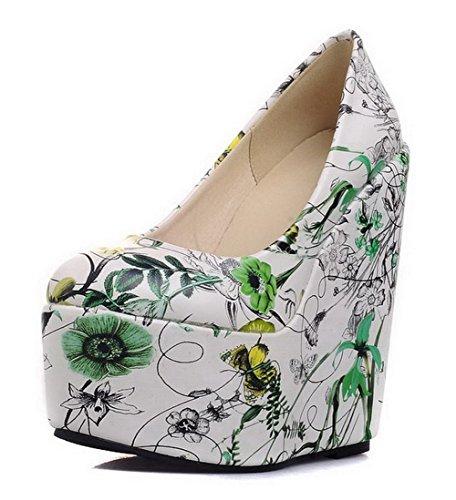 AllhqFashion Damen Ziehen Auf Rund Zehe Hoher Absatz Pu Leder Blumen Fragment Pumps Schuhe, Grün, 40