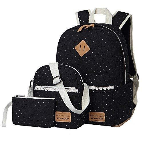 Mädchen Schulrucksack,Fashion Damen Canvas Rucksack Polka Punkt süße Spitze Kinderrucksack Outdoor Freizeit Daypacks Schultaschen für Teenager 16.5x13x5.5 Zoll (schwarz 3 Set)