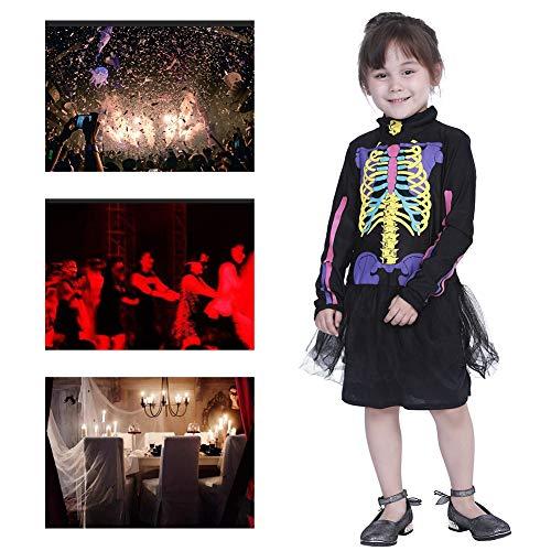 Halloween Fee Kostüm Feuer - JH&MM Bunter Schädel Der Halloween-Kostümkinder Stellte Rollenspielmaskeradeleistung EIN,L