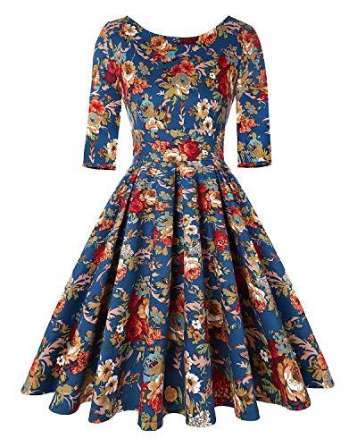 MINTLIMIT 50s Retro Rundhalsausschnitt Rockabilly Floral Audrey Kleid Cocktail Mädchen Retro Kleider (Floral Navy blau,Größe XL)